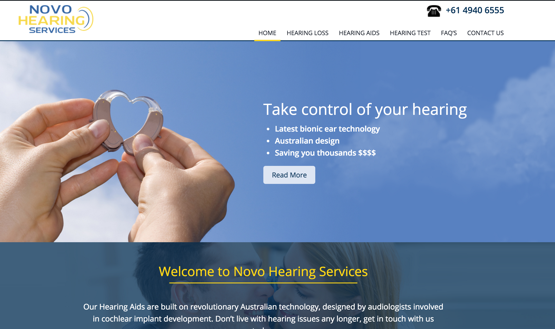 Novo Hearing Services homepage