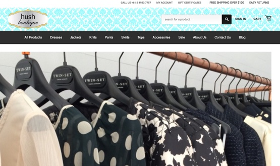 Hush Boutique E-commerce Web design